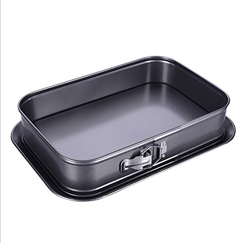 Non-Stick Cheesecake Pan, Springform Pan, Rectangle Cake Pan with Removable Bottom Leakproof and Quick Release Latch Bakeware 14 inches 9.3 inches 3 inches Black