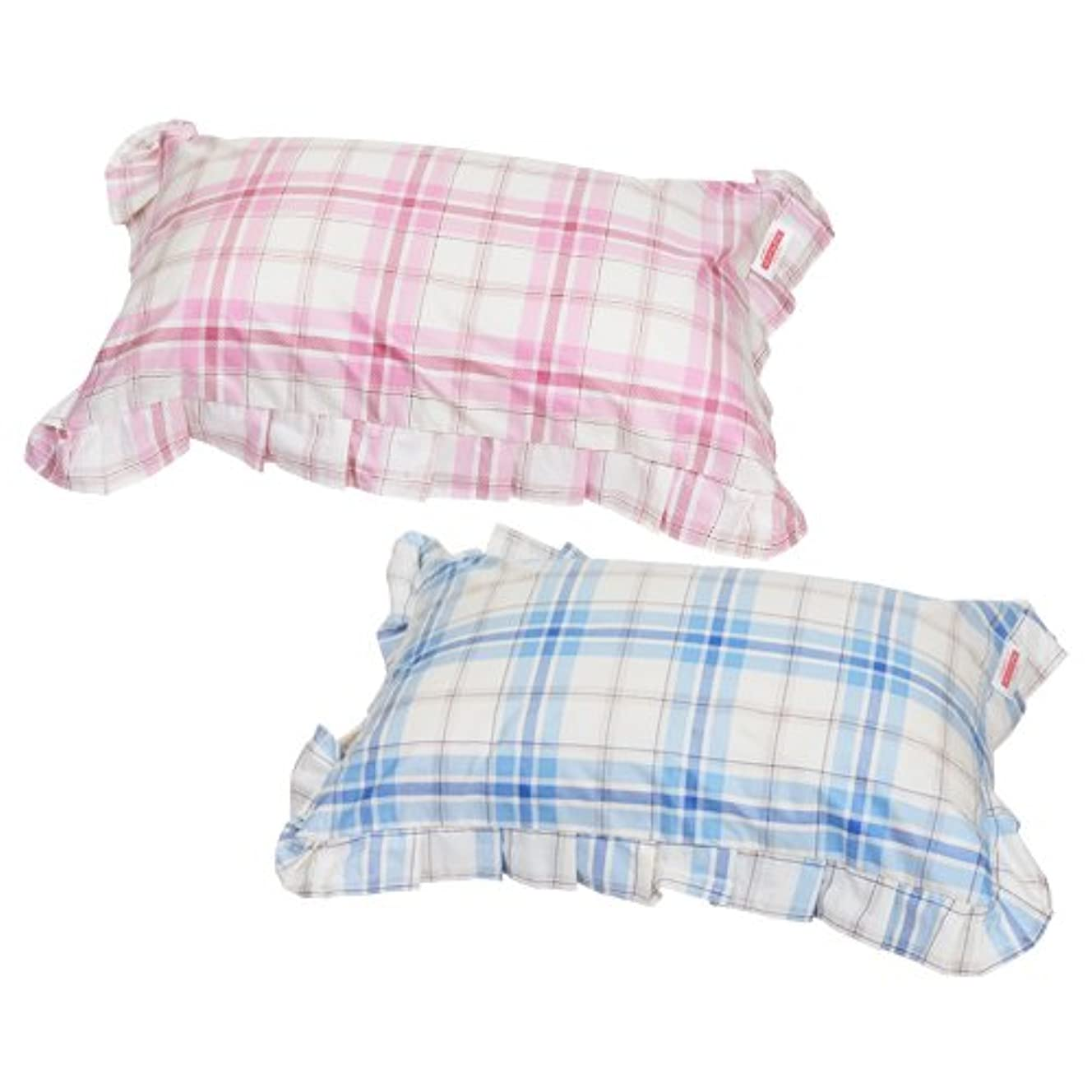 敵アニメーション鎮痛剤枕カバー 35×55cmの枕用 ファスナー式 タータンチェック フリル仕上げ 安心の日本製 ブルー