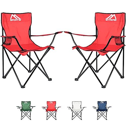 Campingstuhl Premium inkl. Tragetasche in Rot Anglerstuhl Faltstuhl - 2er Set - Klappstuhl mit Armlehne und Getränkehalter praktisch robust leicht