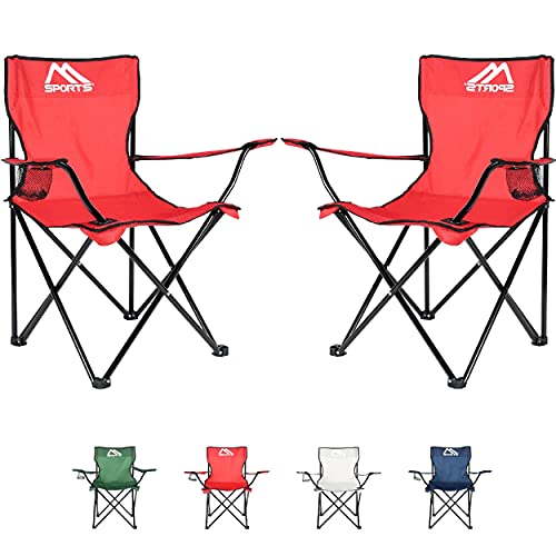 Sedia da campeggio Premium con borsa per il trasporto, sedia pieghevole – a scelta come set da 2 – Sedia pieghevole con braccioli e portabevande – pratica robusta e...