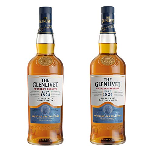 The Glenlivet Founders Reserve Single Malt Scotch Whisky - Juego de 2 Botes de Whisky, Alcohol, 40%, 2 x 700 ml