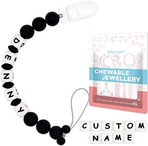 Pacifier Clip Personalized Name Custom Pacifier Leash Binky Holder Chain with Silicone Teething product image