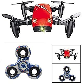 Premsons® RC Drone Foldable S9 Mini Pocket Quadcopter Remote Control Headless Mode A Key Return High & Low Speed Switching with Surprise Gift ( No Camera - Red)