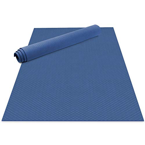 Odoland Large Yoga Mat 72'' x 48'' (6'x4') x6mm for Pilates Stretching Home Gym Workout, Extra Thick Non Slip Eco Friendly Exercise Mat with Carry Strap, Blue