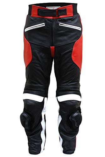 German Wear Damen Motorradhose Motorrad Biker Racing Lederhose Rindsleder, Rot, 36/S