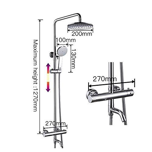 WJSW Duschset Duscharmaturen Thermostat-Mischbatterien Wasserfall Wand-Thermostat-Mischbatterie Duscharmatur, GLD1193