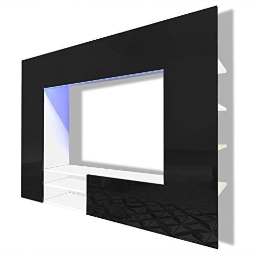vidaXL Supporto da parete nero brillante a LED per TV LCD monitor plasma 169,2cm