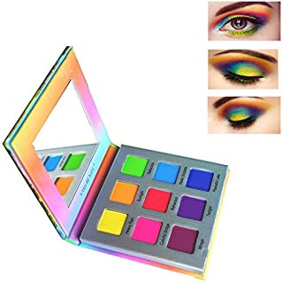Highly Pigmented Eyeshadow Palette,YMH BEAUTE 9 Bright Colors Eye Shadow Palettes Matte Eyeshadow Makeup Palette Long Lasting Waterproof Colorful Cosmetics, Rainbow