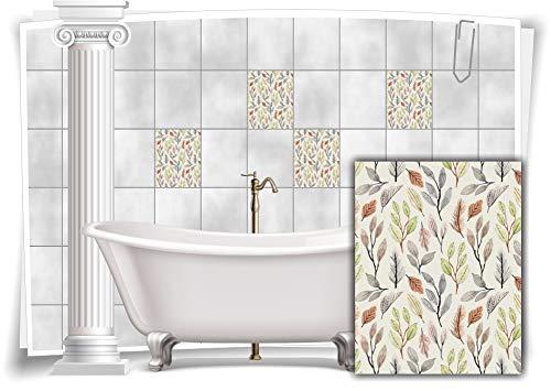 Medianlux Fliesen-Aufkleber Fliesen-Bild Blätter Blumen Grau Grün Pastell Floral Bad WC Deko, 12 Stück, 15x20cm