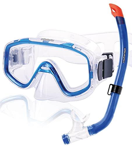 AQUAZON Fun Schnorchelset, Tauchset, Schwimmset, mit Schnorchelbrille und Schnorchel für Kinder von 3-7 Jahren, Farbe:blau transparent