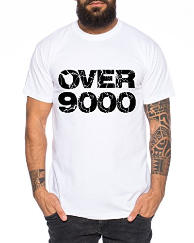 WhyKiki Over 9000 Camiseta de Hombre One Goku Dragon Master Son Ball Vegeta Turtle Roshi Piece Golds Db, Farbe2:Weiß;Größe2:XL