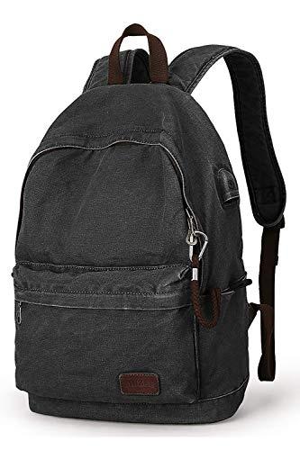 MARK RYDEN Canvas Rucksack, Leichter Anti-Diebstahl-Reise-Rucksack mit USB-Ladeanschluss für herren Damen für die schule für 15,6 Zoll Laptop rucksack
