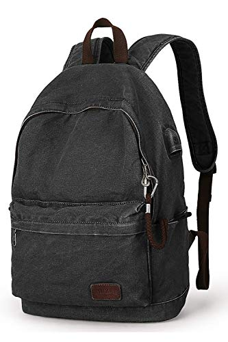 Muzee Canvas Backpack with USB Charging Port for Men Women, Lightweight Anti-Theft Travel Daypack College Student Rucksack Backpack Fits up to 15.6 inch Laptop Backpack,Black