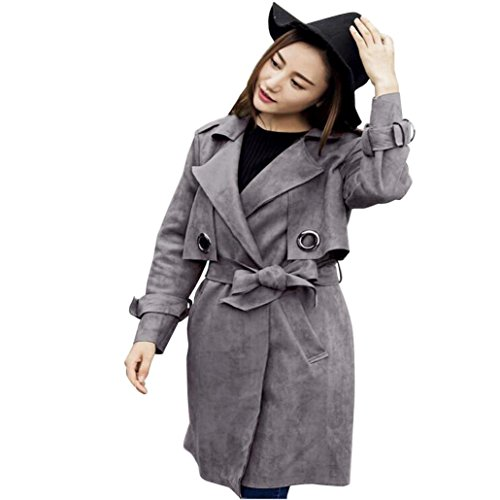Kolylong® Mantel Damen Frauen Elegant Mantel Lang Herbst Winter Vintage Strickjacke Warm Outwear Mit Gürtel Slim Parka Windbreaker Pullover Wintermantel Overcoat (Grau, S)