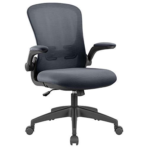 KAIMENG Bürostuhl, ergonomischer Schreibtischstuhl, Netzstoff, Lendenwirbelstütze, Computerstuhl mit verstellbarer Armlehne und Höhe (grau)