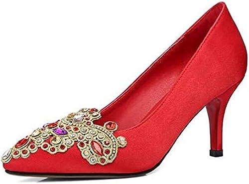 ZHZNVX zapatos de mujer Satin Spring Comfort Heels Stiletto Heel negro rojo Wedding