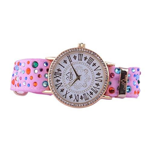 Capri Playa Reloj de Mujer Colección pizzolungo Gold con Piedras y Correa de Tela Sartoriale