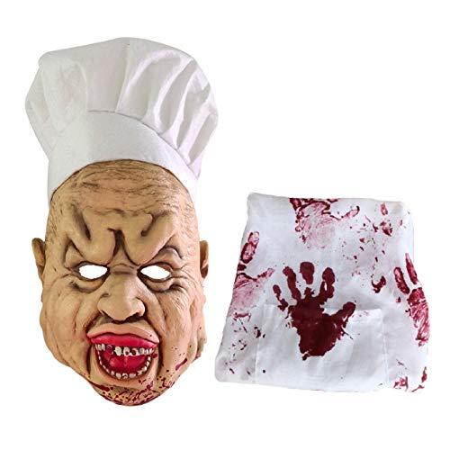 Horror Halloween Terror Zombie Mask, Accesorios De Cosplay Mscara De Chef Loco Sangriento, Mscara De Cocinero Extremadamente Repugnante Y Divertida Con Delantal
