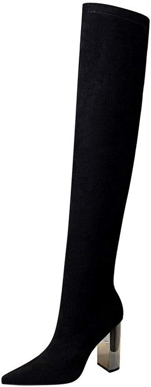 Lieyliso Damen-Overknee-Stiefel aus aus aus Wildleder mit hohem Absatz (Farbe   schwarz, Größe   40)  21b10f