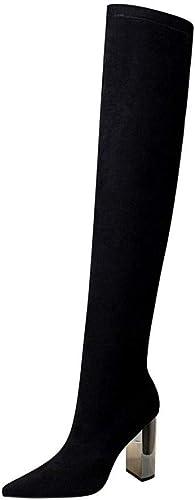 Sixminyo botas de tacón Alto para mujer sobre Las Rodillas (Color   negro, Talla   39)