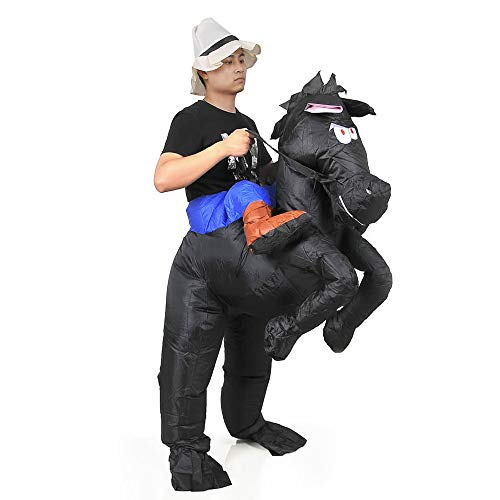 RHYTHMARTS Inflatable Horse Costume Adult Halloween Christmas Costumes Funny Suits Riding Shoulder Costume (Horse Black)