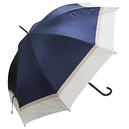 [マコッカ] 完全遮光 晴雨兼用傘 makez. 60cm 3色切替 ネイビー