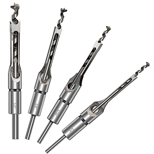 HSS Mortising Chisel Set, 4Pcs Woodworking Square Drill Bits Wood Hole Saw with Twist Drill (1/4-Inch, 5/16-Inch, 3/8-Inch, 1/2-Inch)