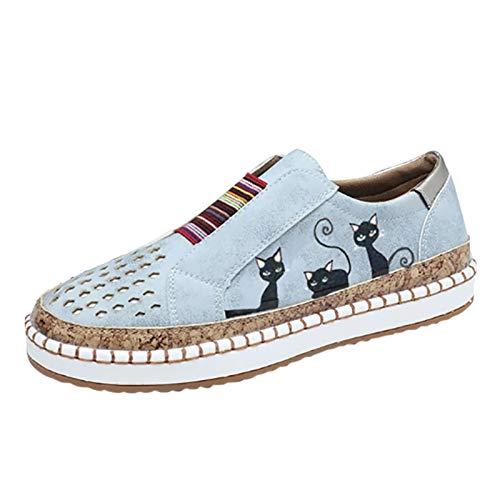 Xmiral Beiläufig Flache Schuhe für Damen in Übergröße, Elastische Schlüpfen EIN Schritt Atmungsaktiv Schuhe mit Katzendruck(39,Grau)
