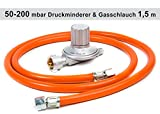 Anschluss-Set bestehend aus Druckminderer 50-200 mbar (stufenlos regelbar) + Gasschlauch 150 cm ( für geeignete Gasgeräte Gaskocher, Gasherd, Hockerkocher, Campingkocher, Heizung,...