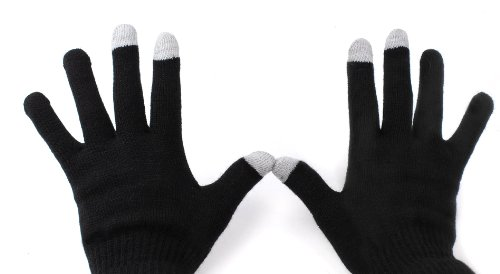 DURAGADGET Comfy Black Medium Touch Screen Gloves - Suitable for use with The Leagoo Shark 1