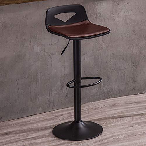 KMMK Bar, cafetería, silla de restaurante, silla giratoria de barra negra de 360 °, taburete de bar ajustable con elevación libre, taburete de cera de aceite cómodo y duradero, desayuno casero Bar