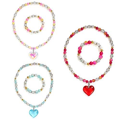 Powerking Collana e Bracciale per Bambini, 3 Set Bambina e Perline Gioielli Perline Collana e Bracciale con Pendente a Cuore per Vestire Finta