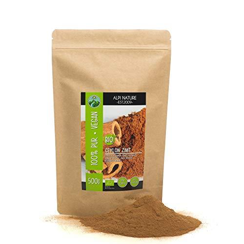 Cannella di Ceylon biologica (500g), cannella in polvere da coltivazione biologica certificata, senza glutine, senza lattosio, testata in laboratorio, vegana, cannella 100% naturale