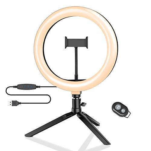 Luz de Anillo LED con Trípode, BlitzWolf 10.2 Anillo de Luz con Soporte de Móvil y Control Remoto Bluetooth, 3 Modos de Luz y 11 Niveles de Brillo con 120 Bombillas para Youtube, Maquillaje, Selfie