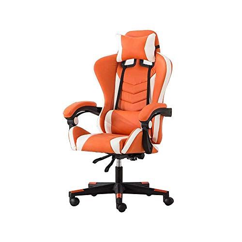 ZYLZL Chair Gaming Chair Office Armchair High Back Reclining Computer Chair Ergonomic Rotating Electric Seat With Headrest And Massage Lumbar Pillow,Orange White