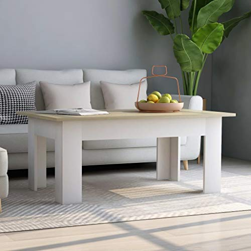 vidaXL Coffee Table Stylish Home Living Room Office Couch Sofa End Side Table Plant Stand Furniture White and Sonoma Oak 100x60x42cm Chipboard