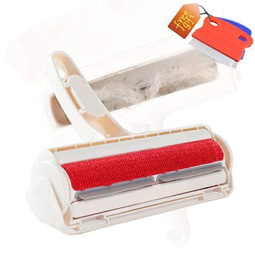cjc Tierhaarentferner Katzen BüRste Fusselrolle,Die Haarentfernung ist sauber, waschbar und für Betten, Sofas und Teppiche geeignet rot 22x19