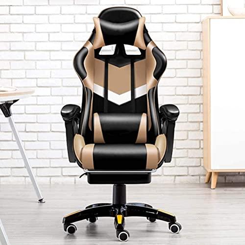 Wohnzimmerzubehör Bürostühle Gaming-Stuhl mit Fußstütze Ergonomischer Büro-Computerstuhl mit hoher Rückenlehne aus PU-Leder verstellbarer Relaxsessel mit Kopfstütze und Lendenwirbelstütze Racing-St