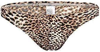 COMLIFE Men's Thong Leopard Print Breathable Underwear Big Bulge Pouch T-Back Underpants