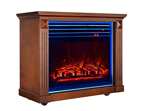 GMHome 23 Inches Electric Fireplace Freestanding Heater Moveable Electric Fireplace, 7 Changeable Backlight, Log Fuel Effect, with Remote, with Wheel, 1500W - Coffee