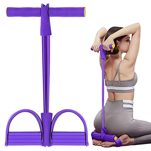 Senbos Elastischer Bauchtrainer 4 Fitness Zugseil Pedal Sit-up Trainingsgerät Bodybuilding Oberarme Trainieren Brust Expander Latex Rutschfestes Widerstandsband für Yoga, Abnehmen und Krafttraining