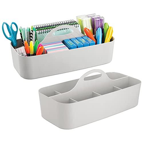 mDesign Set da 2 organizer da scrivania (grandi) – Contenitori in plastica ideali per articoli di cancelleria, foglietti adesivi, fogli ecc – Scatole con 11 scomparti – grigio chiaro