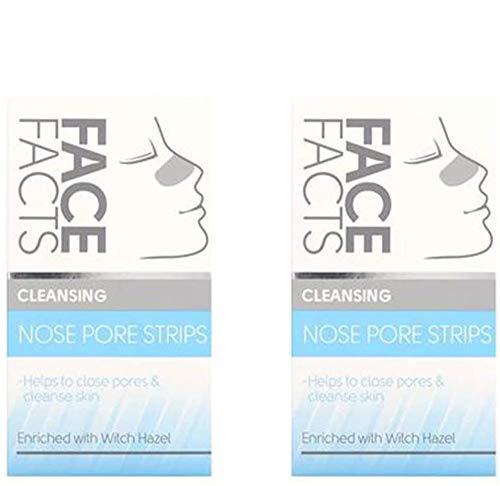 Face Facts 's – Lot de 2 bandes nettoyantes pour les pores du nez Vegan aide à fermer les pores et nettoie la peau enrichie en hamamélis de sorcière 6 bandes par paquet