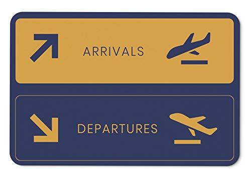 Tassenbrennerei Fussmatte mit Spruch Arrivals - Departures Flughafen - Fußabtreter, Türmatte - Geschenk für Piloten