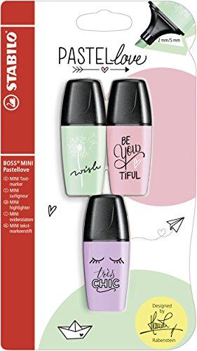 Evidenziatore - STABILO BOSS MINI Pastellove - Pack da 3 - Rosa Antico/Verde Menta/Glicine