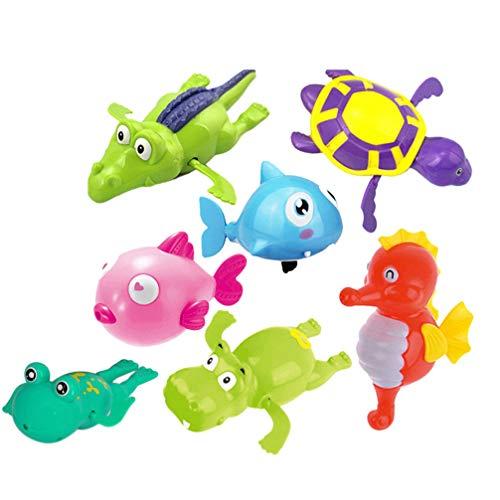 STOBOK 7pcs Wind-Up Toy Bath Toy Bath Animals Fish Crocodile Sea Turtle Hippocampus Frog Baby Children Toddler Bath Toy Educational Toy Random Colour