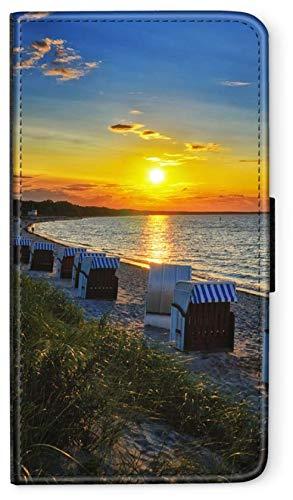 Flip Case OSTSEE Meer Strand Urlaub kompatibel für Samsung Galaxy S6 Edge Plus Stralsund Strand Strandkorb Handy Hülle Tasche Klapphülle Brieftasche Etui rund um Schutz Wallet M8