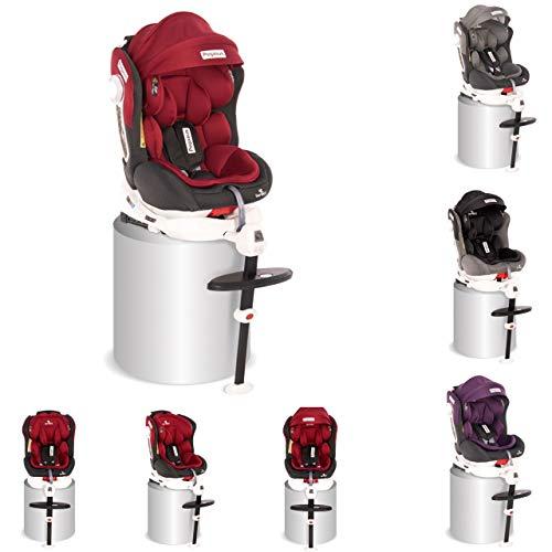 Lorelli, asiento niños Grupo Pegasus 0+/1/2/3 (0-36 kg) Isofix ajustable cojín, colores:tinto