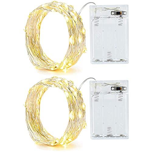 Annefly 2PACK 2m Lichterkette mit Timer 20 LEDs kleine Lichterkette Batterie wasserdicht batteriebetrieben Innen Außen für Party, Weihnachten, Halloween, Hochzeit, tolle Schlafzimmer Deko (Warmweiß)