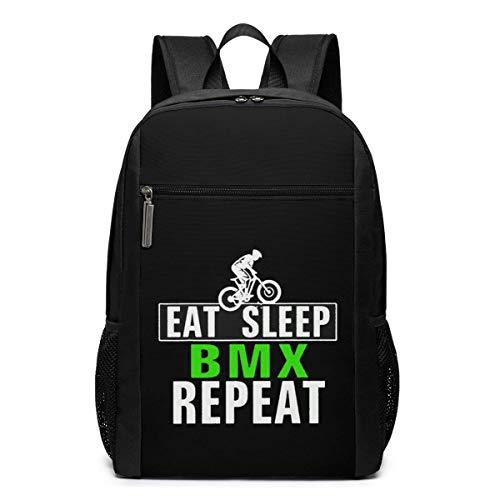 ZYWL Eat Sleep BMX Repeat Laptop Rucksack, Reiserucksäcke School College Bookbag für Frauen und Männer 17 Zoll
